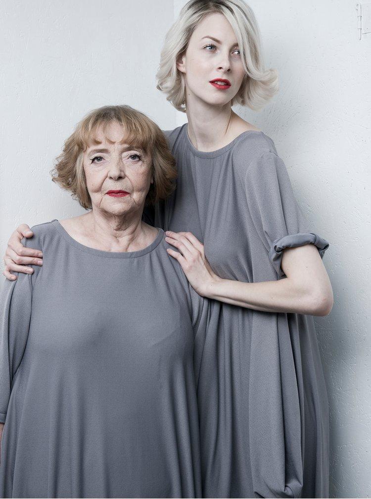 Šedé oversize šaty s páskem La femme MiMi