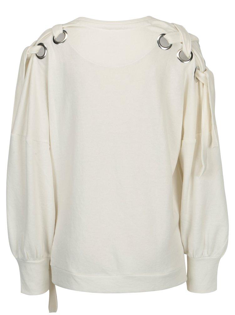 Bluza alba oversized cu snururi pe umeri si solduri - ONLY Eisha