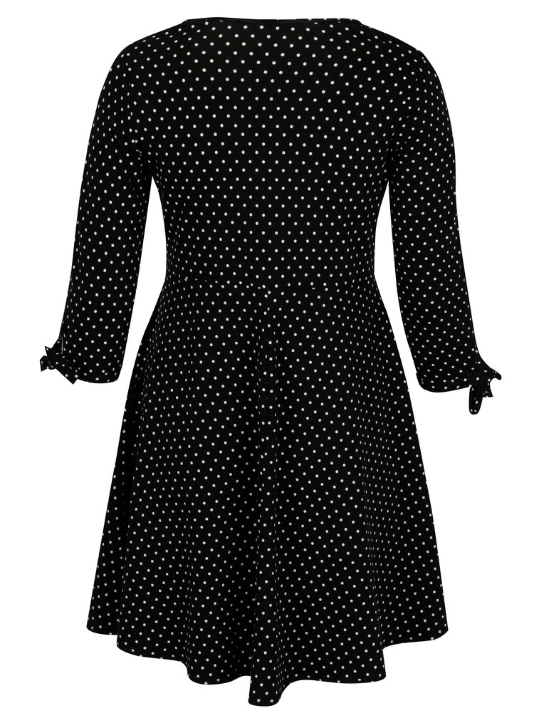 Černé puntíkované šaty s 3/4 rukávem Dorothy Perkins Curve