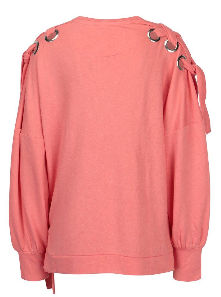 Bluza roz oversized cu snururi pe umeri si solduri - ONLY Eisha