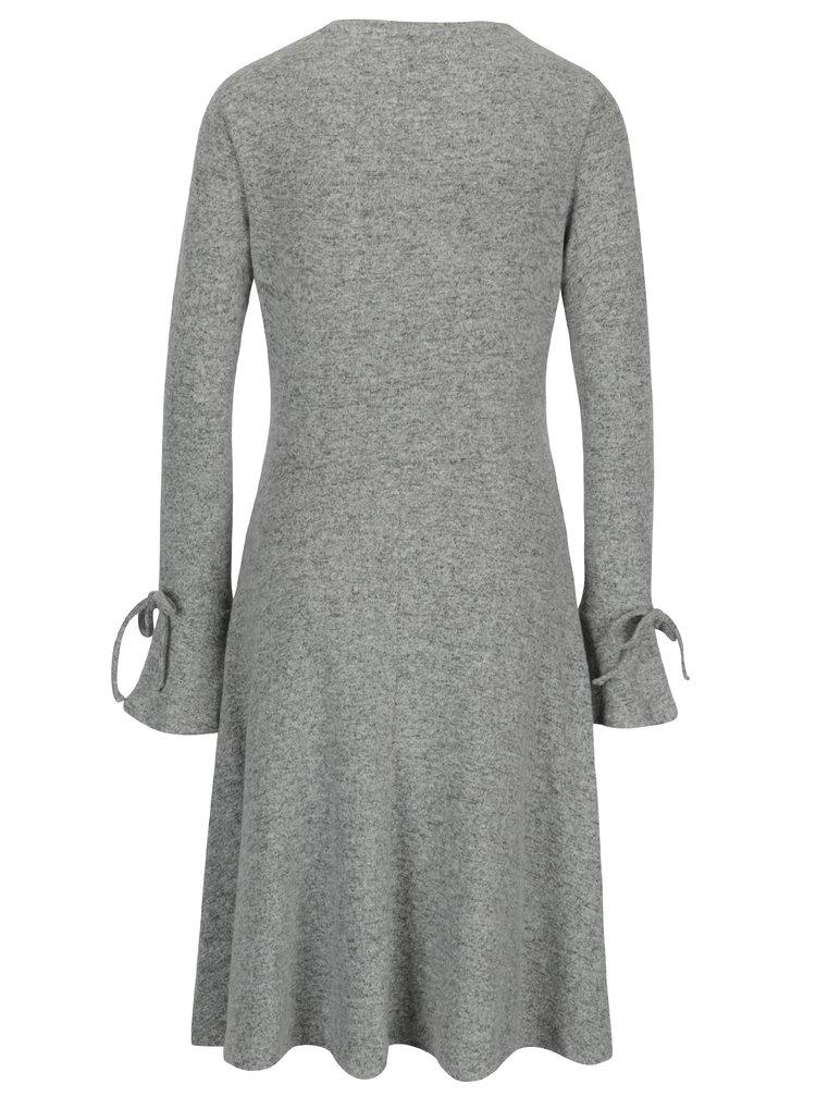Sivé melírované svetrové šaty s dlhým rukávom Dorothy Perkins Tall