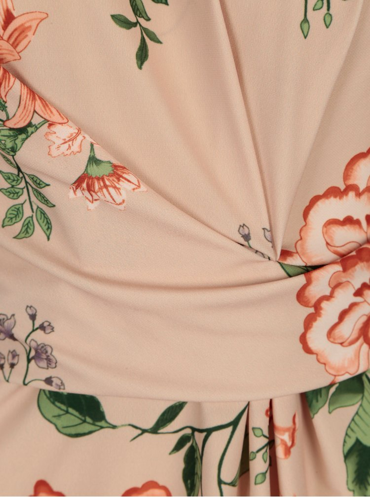 Meruňkové květované tričko s řasením Dorothy Perkins