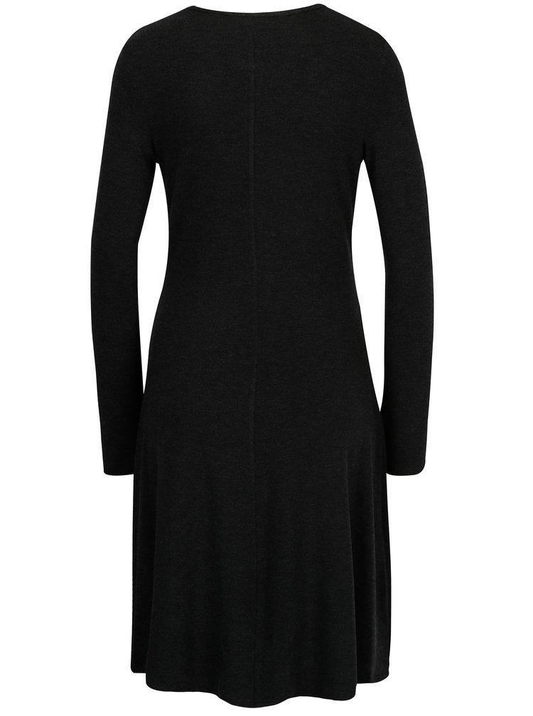Tmavě šedé šaty s dlouhým rukávem Dorothy Perkins