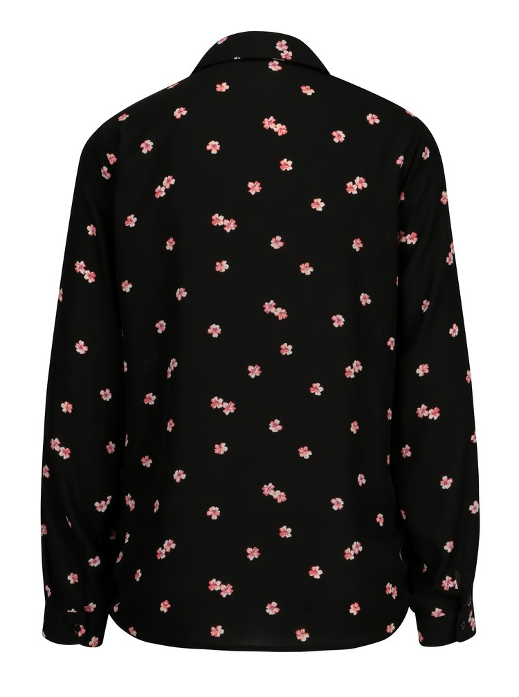 Černá květovaná halenka s dlouhým rukávem Dorothy Perkins