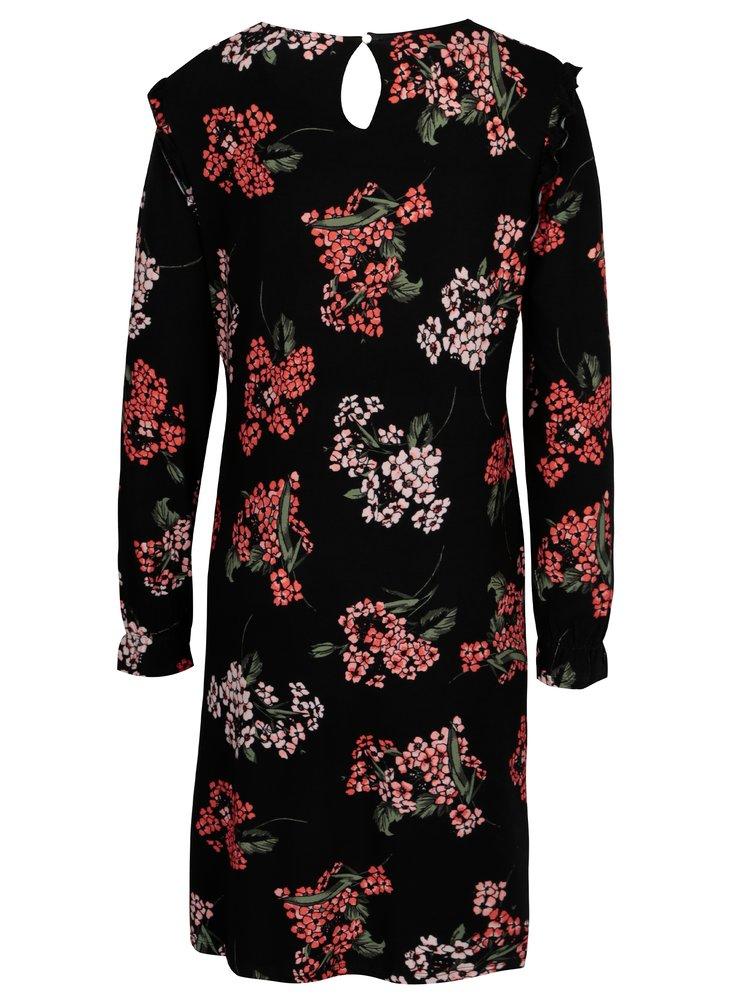 Černé květované těhotenské šaty s dlouhým rukávem Dorothy Perkins Maternity