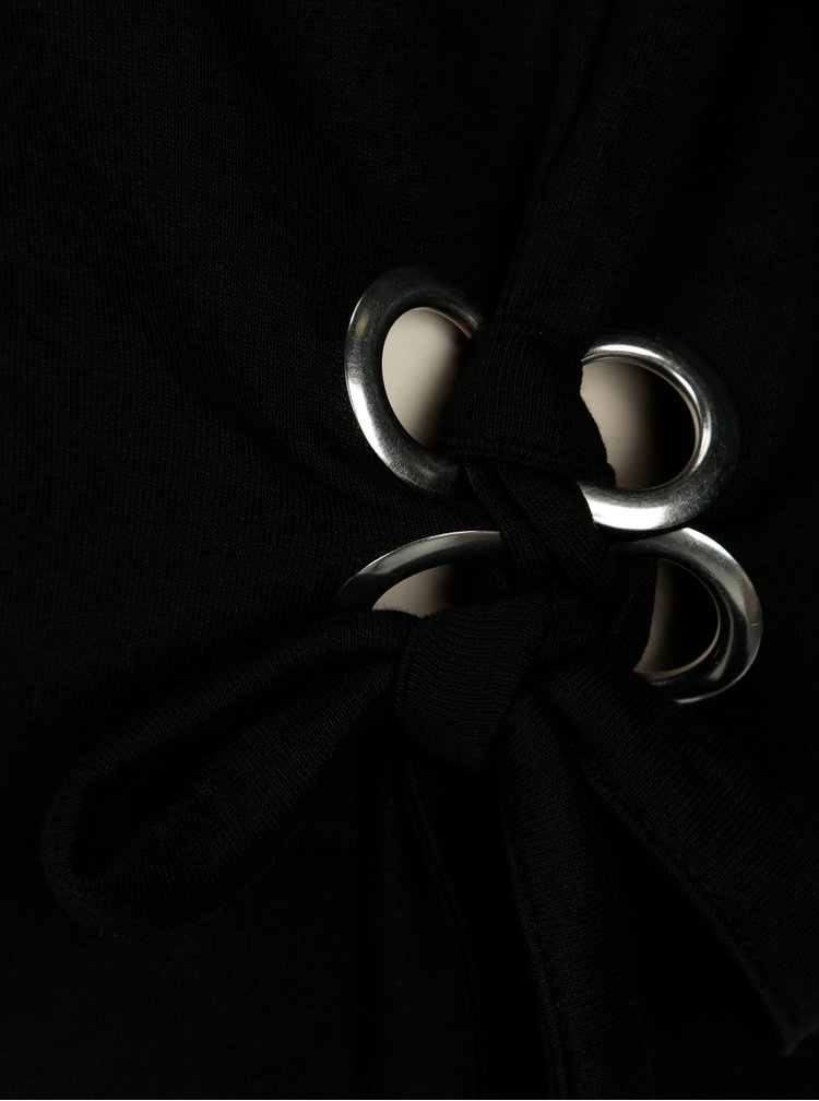 Bluza neagra oversized cu snururi pe umeri si solduri - ONLY Eisha