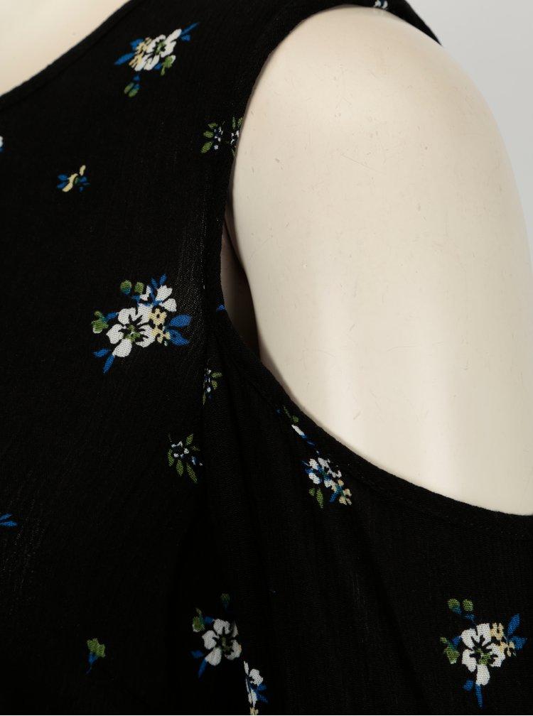 Černá květovaná halenka s průstřihy na ramenou Dorothy Perkins