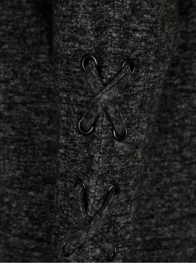 Tmavě šedá žíhaná mikina s kapucí Dorothy Perkins