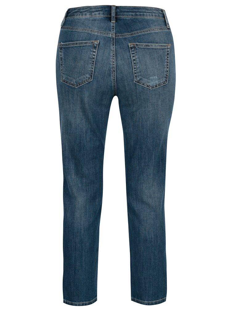 Modré zkrácené džíny s vysokým pasem Dorothy Perkins