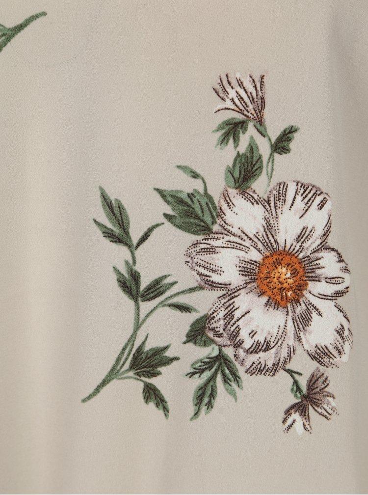 Bluza gri deschis cu volane si print floral Dorothy Perkins