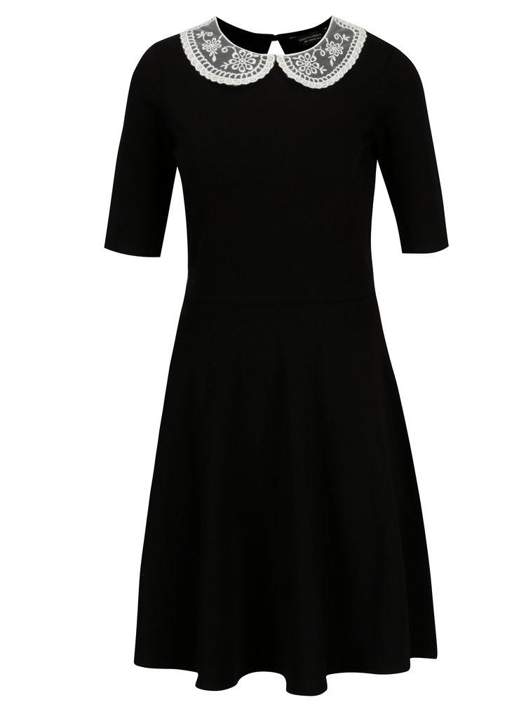 Černé šaty s krajkovým límečkem Dorothy Perkins