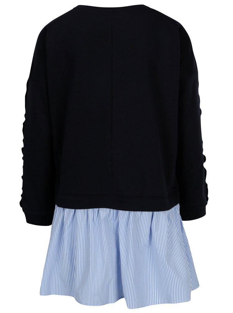 Bluza bleumarin cu volane pe maneci si terminatie de camasa - ONLY Sunny