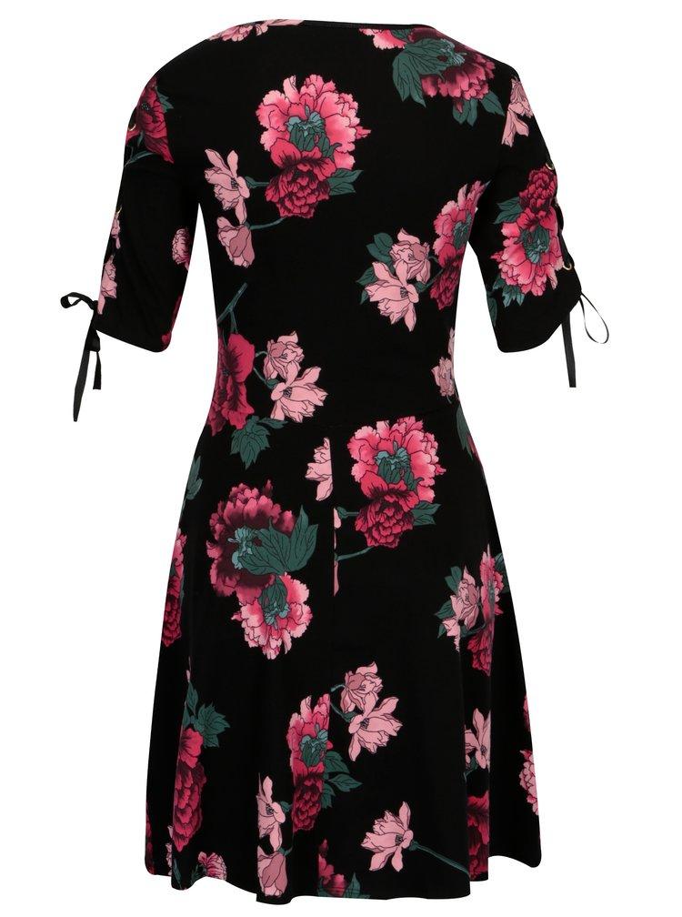 Černé květované šaty se šněrováním Dorothy Perkins