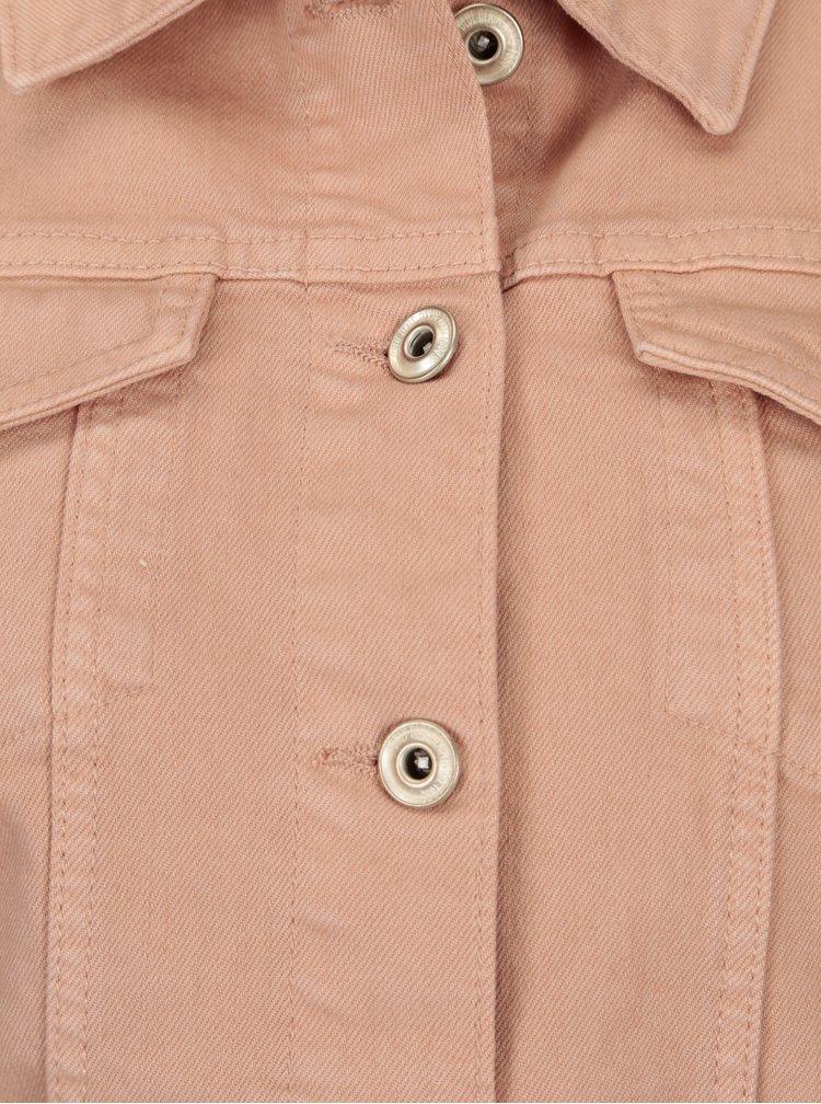 Staroružová rifľová bunda s volánmi na chrbte ONLY Flair