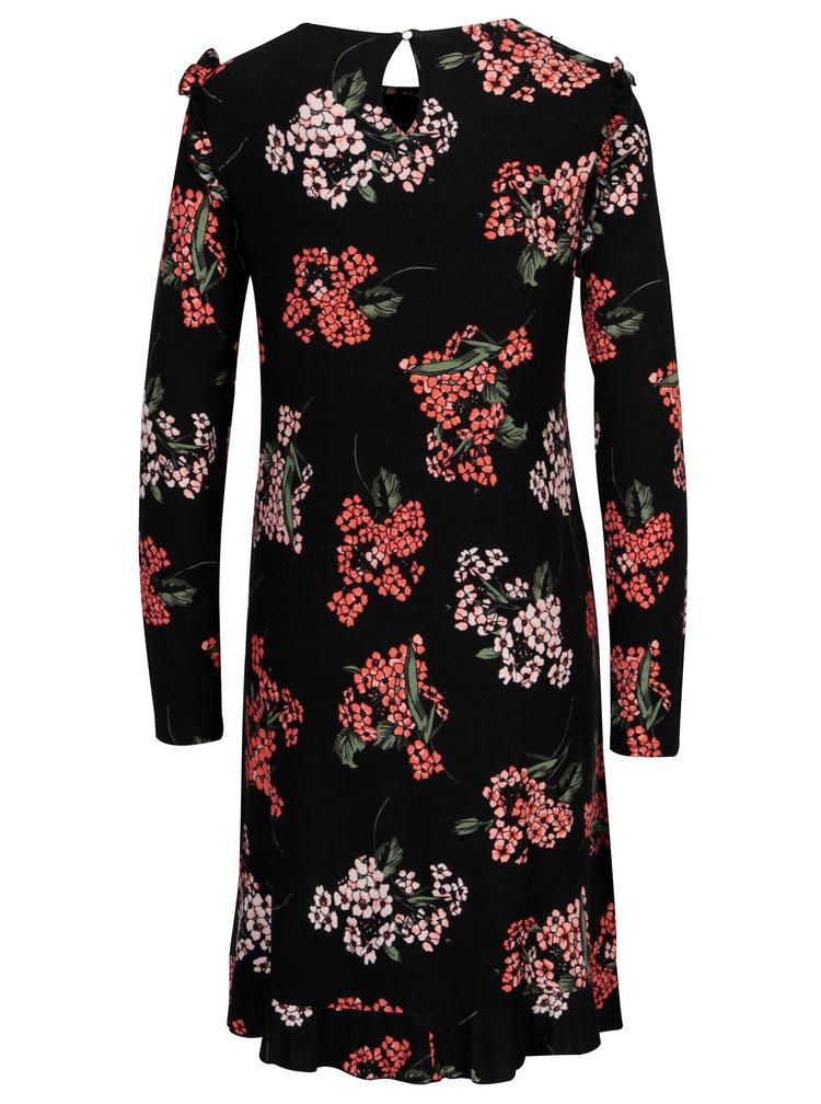 Černé květované šaty s volánky Dorothy Perkins