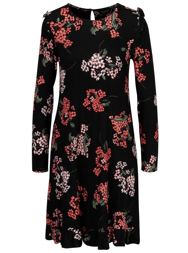 Rochie neagra cu print floral si volane Dorothy Perkins