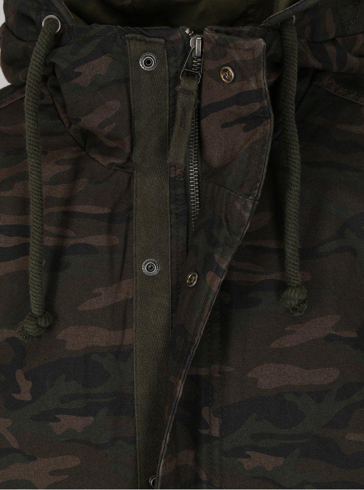 Khaki maskáčová parkat s kapucí Jack & Jones New Bento