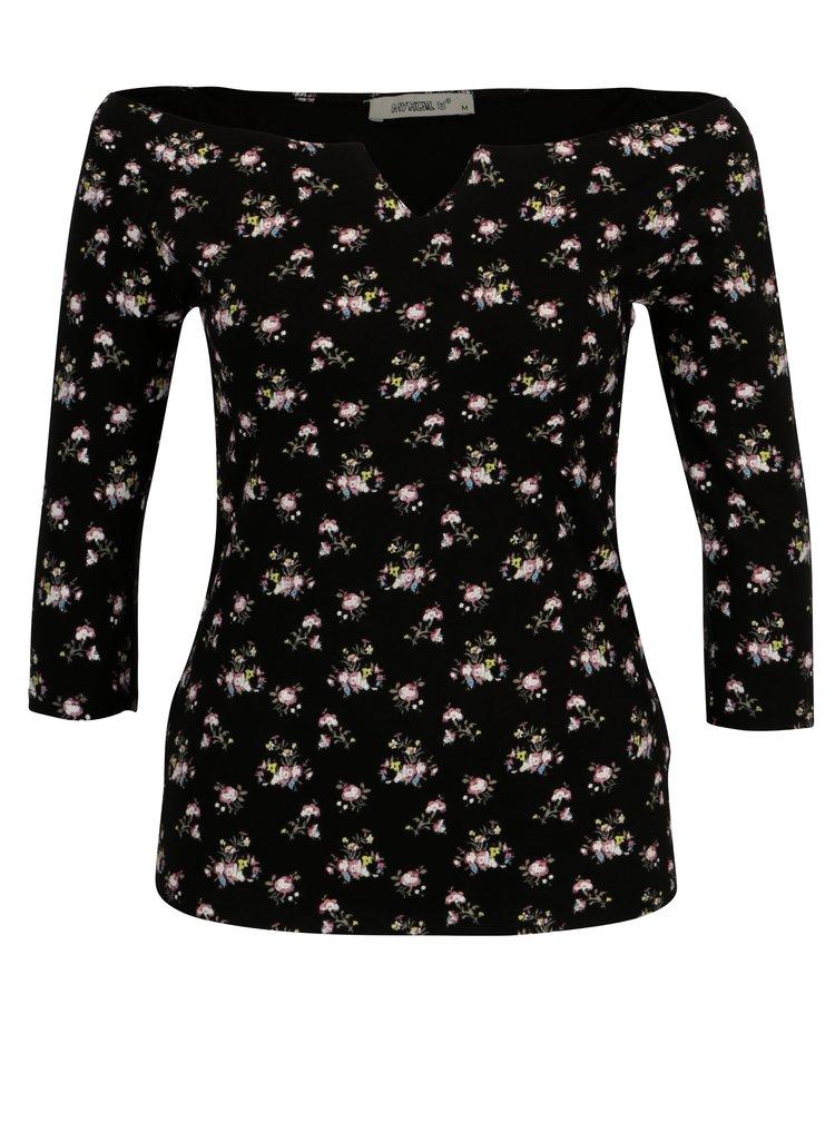 Černý květovaný top s holými rameny Haily's Racheline