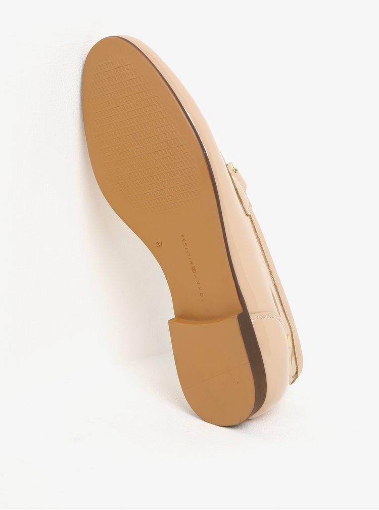 Béžové kožené lesklé dámské mokasíny Tommy Hilfiger