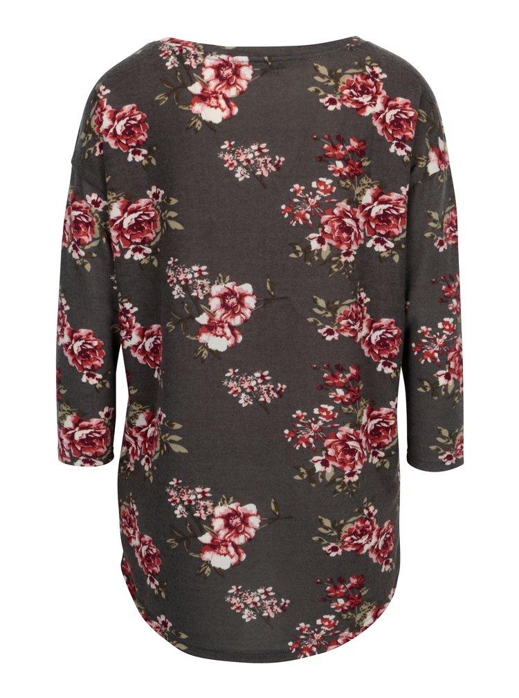 Bluza maro cu maneci 3/4 si print floral - Haily's Mia