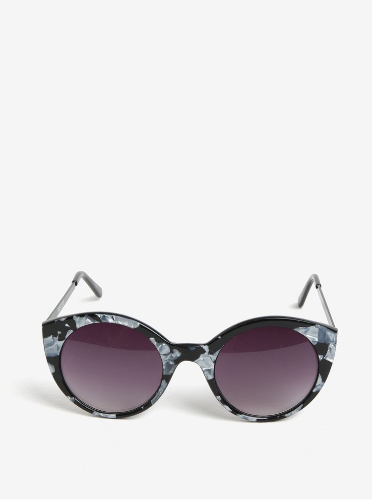 Šedo-černé vzorované sluneční brýle Pieces Malisa