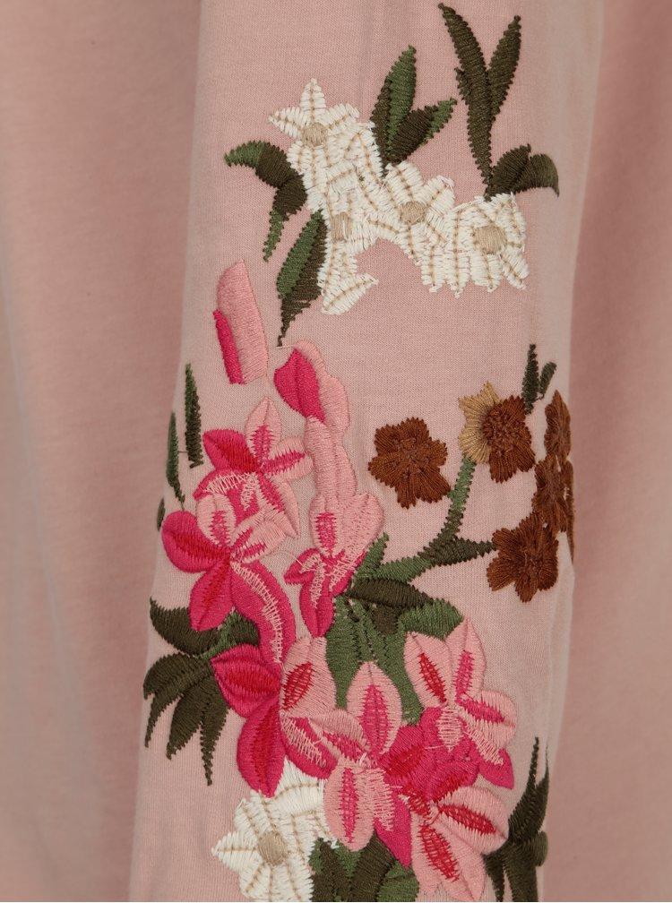 Starorůžová mikina s květovanou výšivkou na rukávech VILA Halia