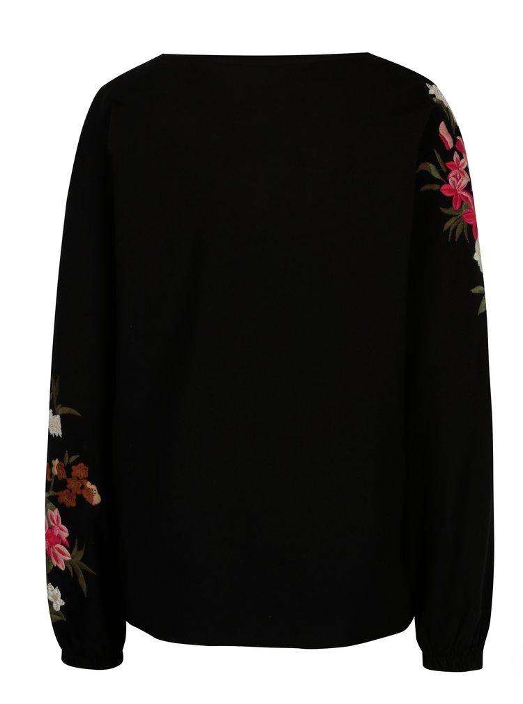 Čierna mikina s kvetovanou výšivkou na rukávoch VILA Halia