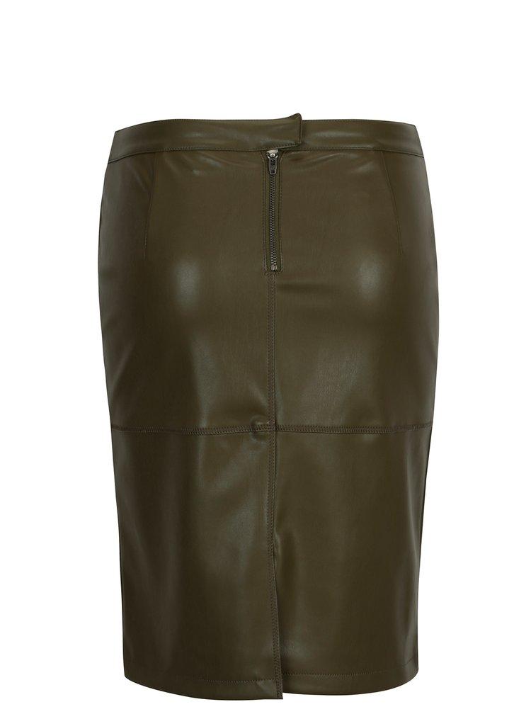 Zelená koženková pouzdrová sukně s rozparkem VILA Pen New