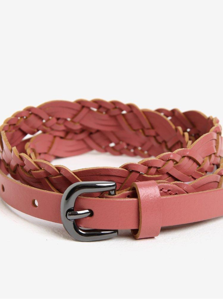 Starorůžový kožený pásek Pieces Melina