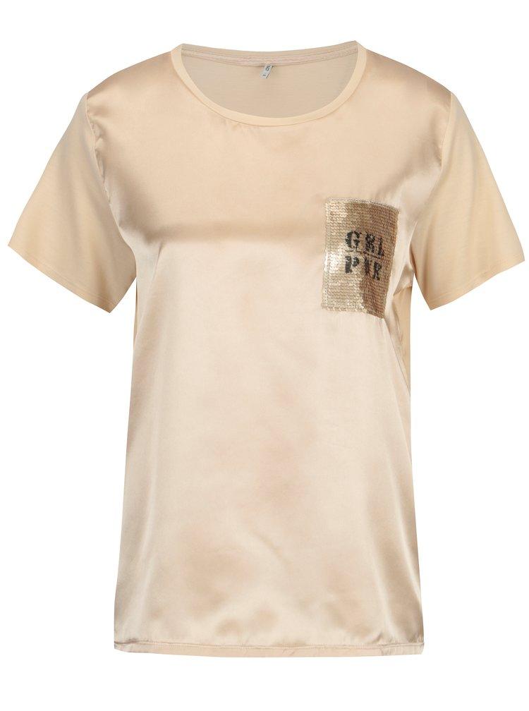 Béžové lesklé tričko s flitrovou výšivkou ONLY Sally