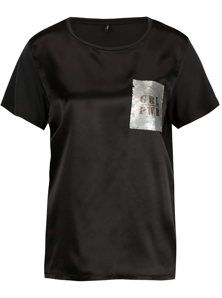 Tricou negru cu aspect lucios si broderie din paiete - ONLY Sally