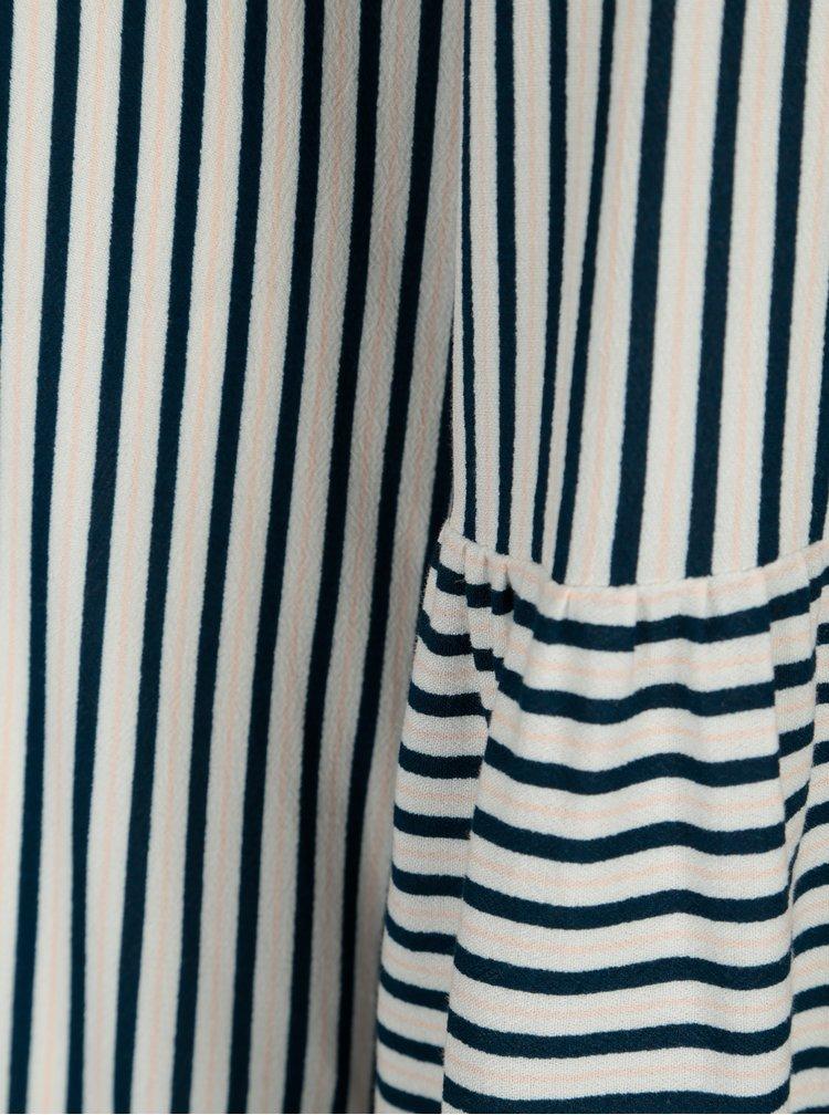 Modro-krémové pruhované šaty VILA Linetta