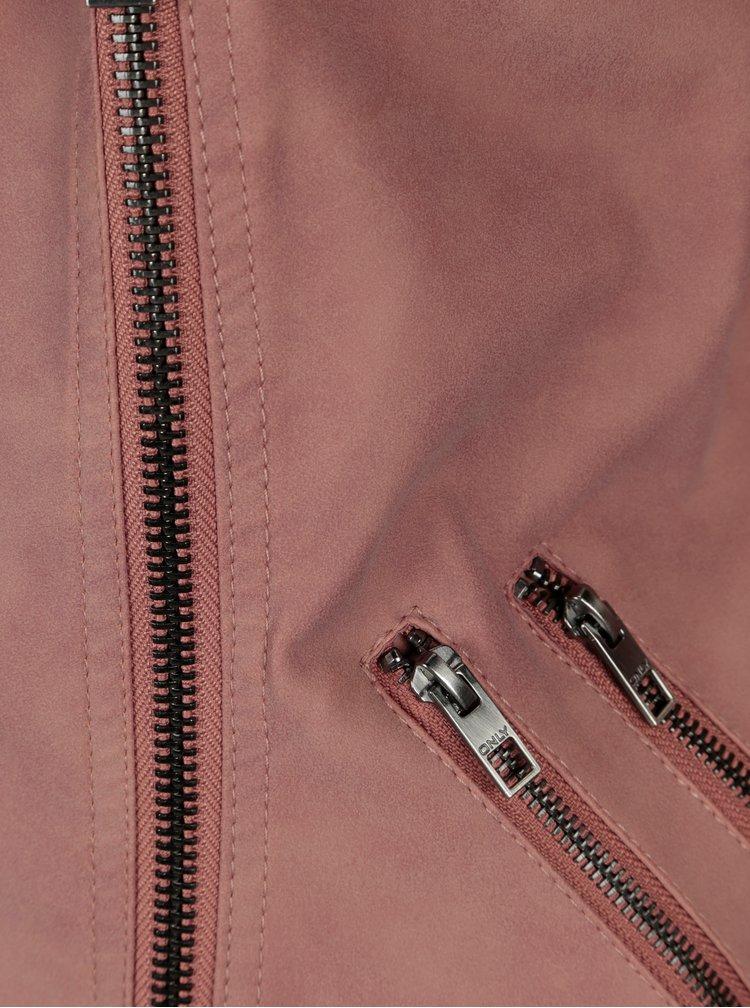 Starorůžový koženkový křivák ONLY Ava