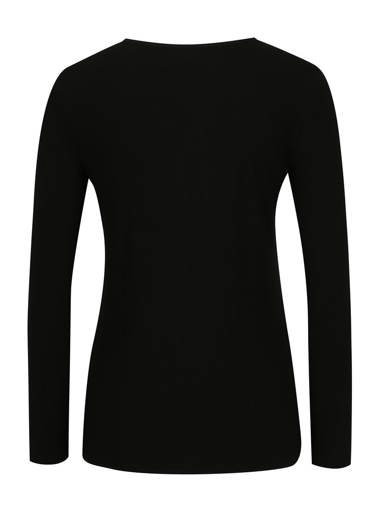 Černé tričko s véčkovým výstřihem TALLY WEiJL