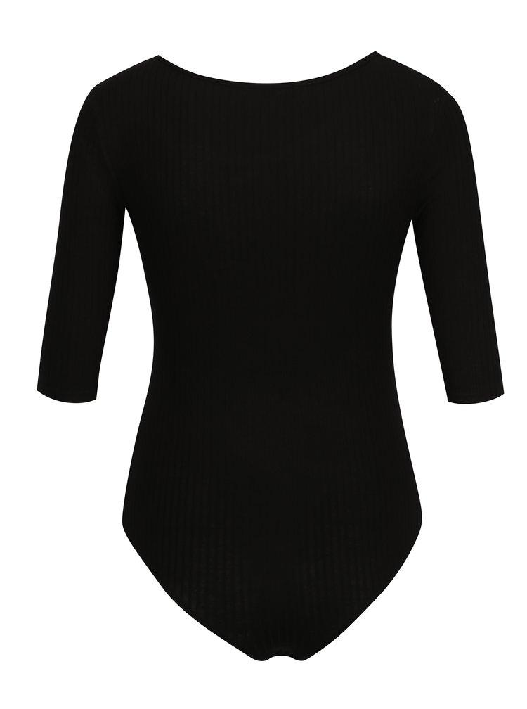 Černé žebrované body s 3/4 rukávy TALLY WEiJL