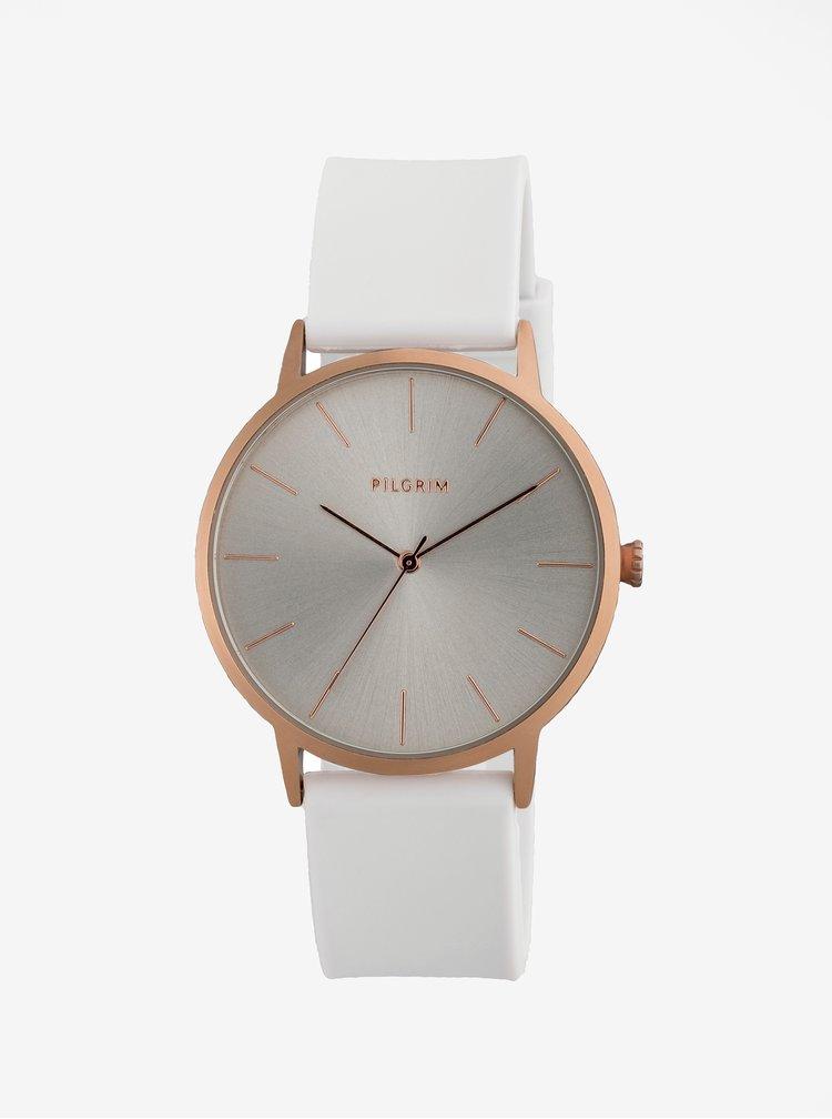 Pozlacené hodinky se světle šedým silikonovým páskem Pilgrim