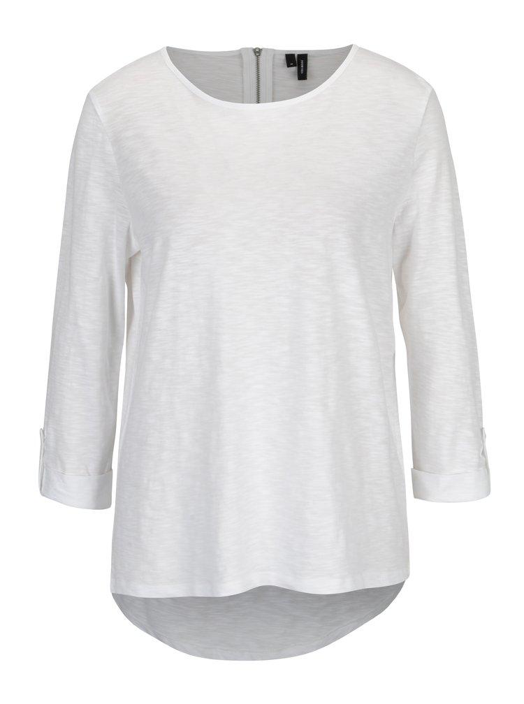 Bílé tričko s 3/4 rukávem VERO MODA Malka