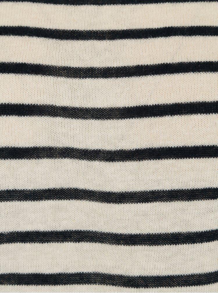 Béžový lněný svetr s tmavě modrými pruhy Selected Femme
