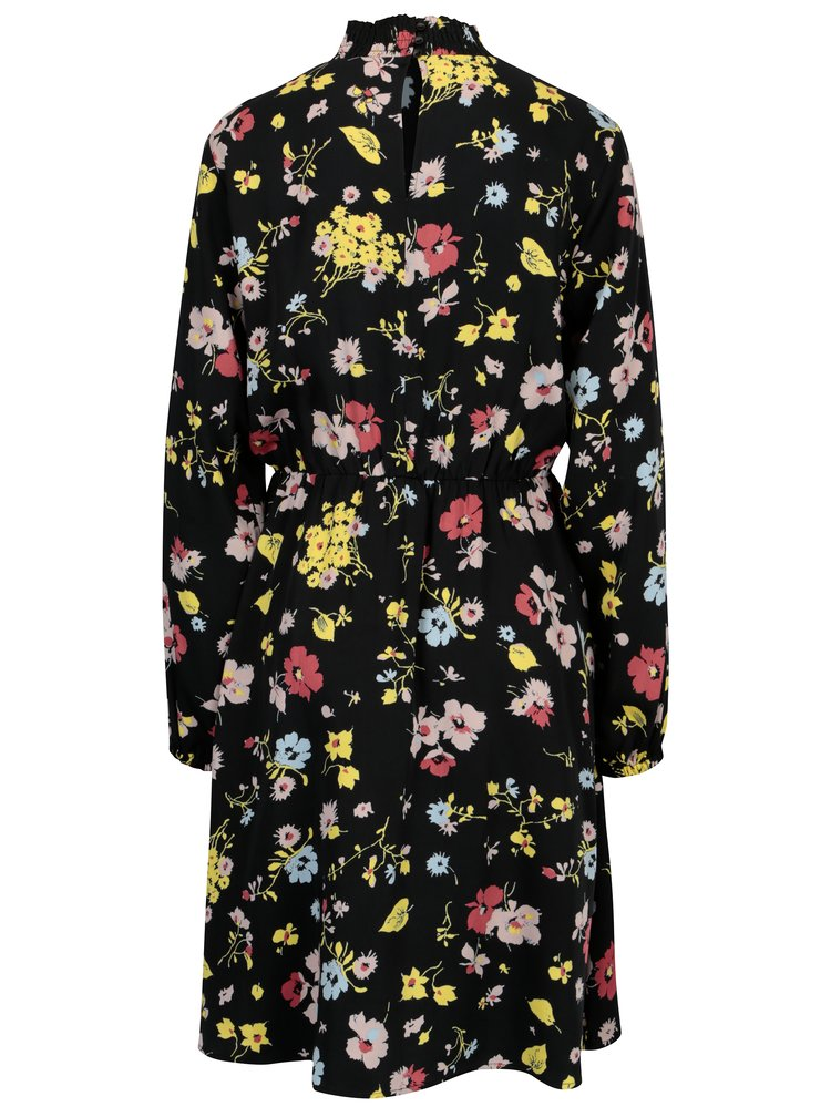Rochie neagra cu print floral Selected Femme Florisa