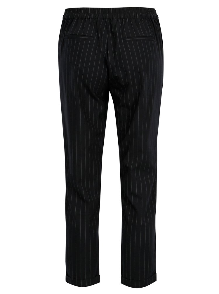 Černé zkrácené pruhované kalhoty s vysokým pasem TALLY WEiJL