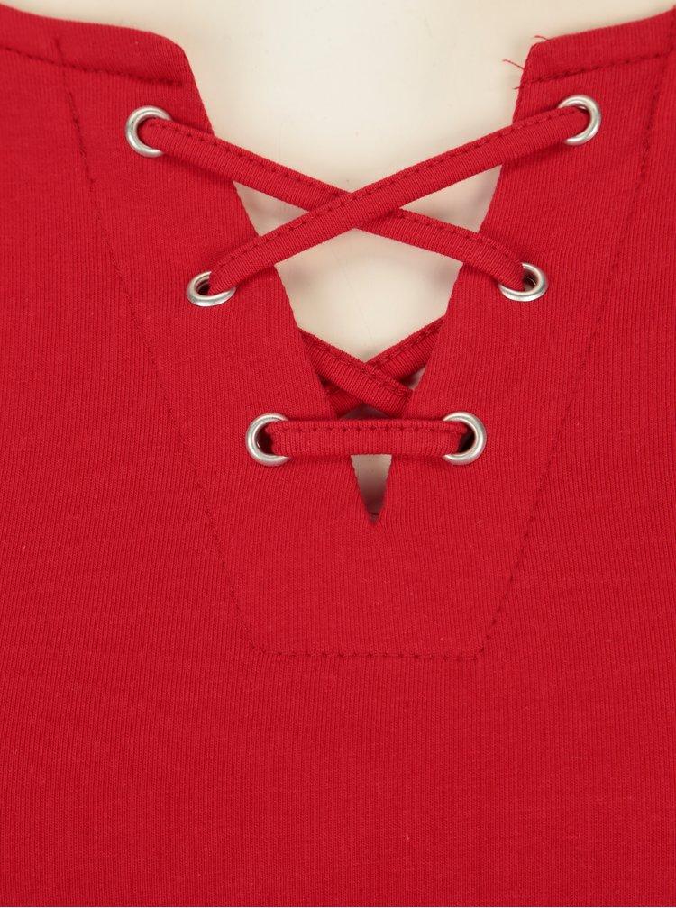 Červené tričko se šněrováním TALLY WEiJL