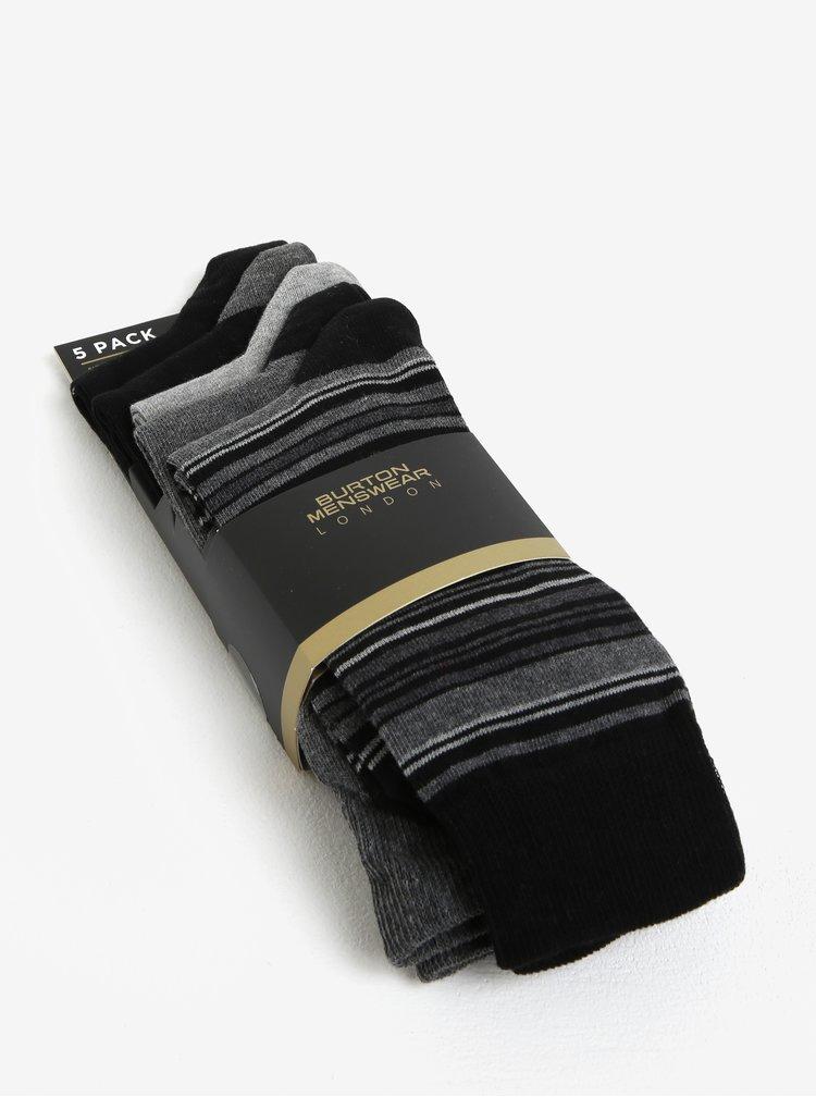 Set de 5 perechi de sosete gri cu dungi  Burton Menswear London