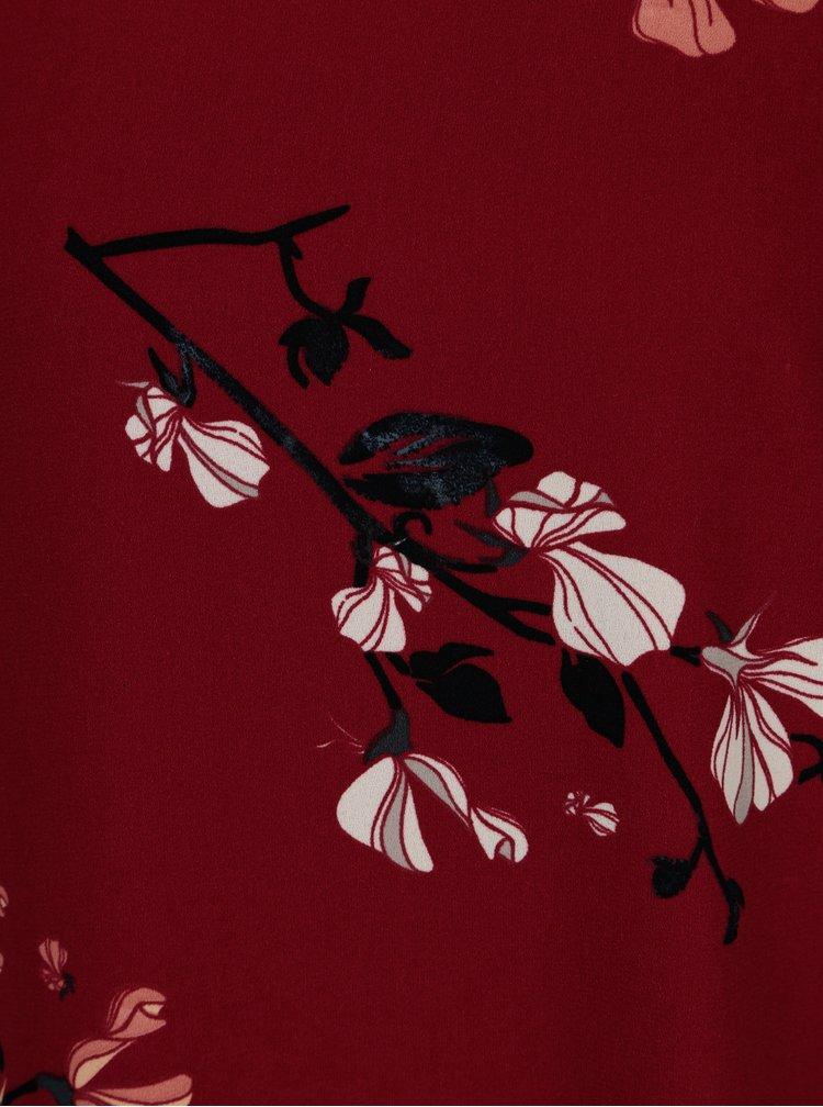 Vínové květované šaty VERO MODA Hallie