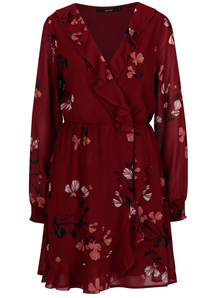 Vínové květované šaty s volány VERO MODA Hallie