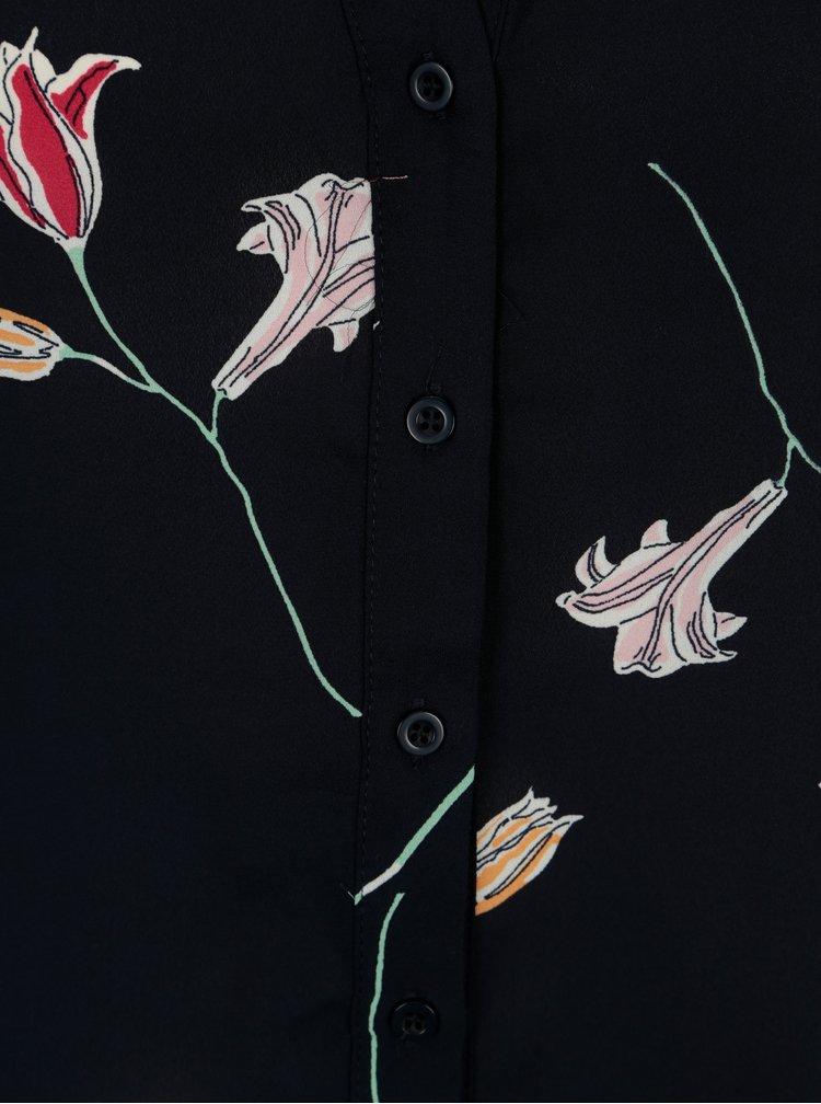 Tmavomodrá kvetovaná blúzka VERO MODA Elena