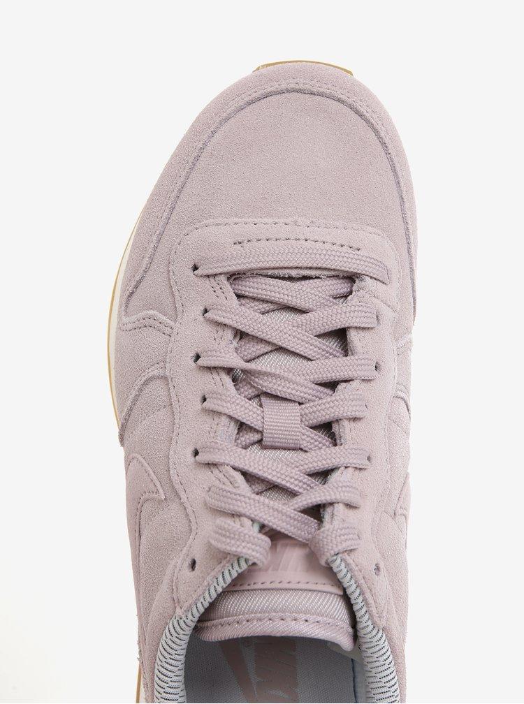 Pantofi sport roz prafuit din piele naturala intoarsa pentru femei - Nike Internationalist