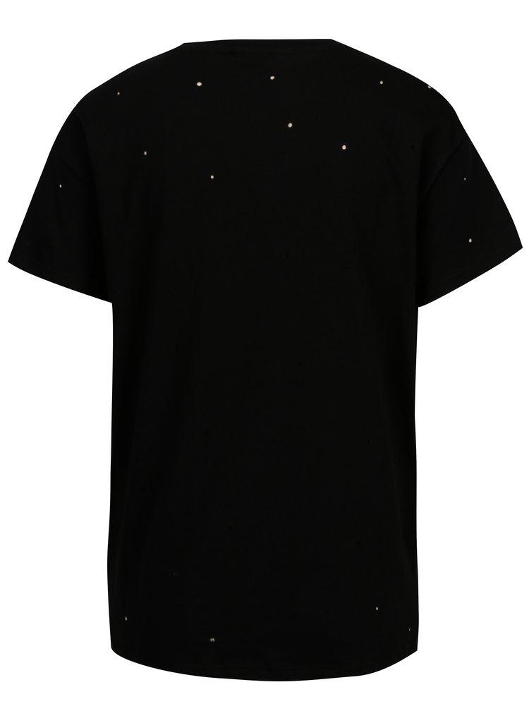 Černé tričko s potiskem a kamínky Noisy May Command