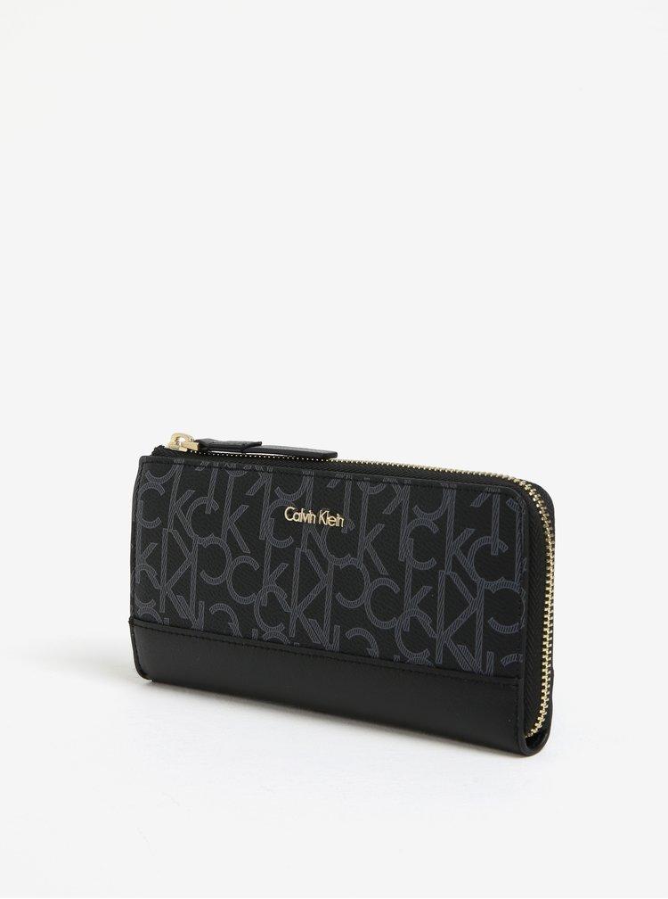 Černá vzorovaná velká peněženka Calvin Klein Jeans