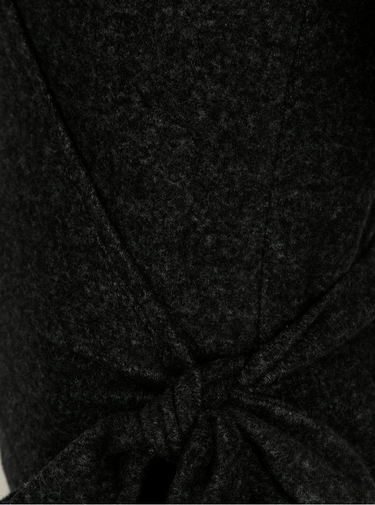 Tmavě šedý žíhaný zavinovací kardigan VERO MODA Tammi