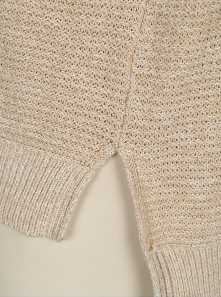 Béžový žíhaný svetr s véčkovým výstřihem Noisy May Ayi